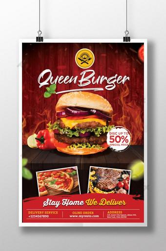 cartel de hamburguesa reina para la promoción de productos alimenticios Modelo PSD