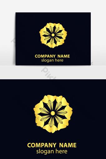 diseño de logotipo de icono de flor dorada Elementos graficos Modelo EPS