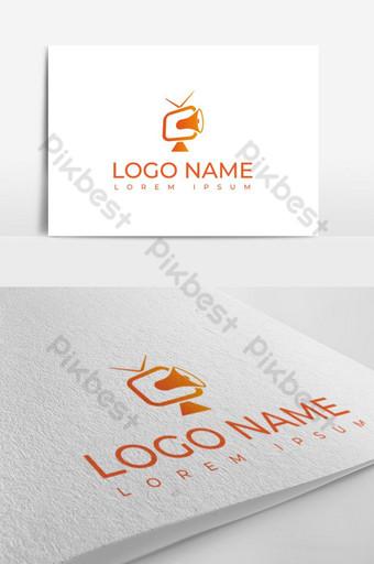Plantilla de diseño de vector de logotipo de anuncios de tv naranja Modelo AI