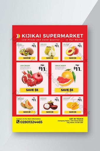 selebaran katalog supermarket dan bahan makanan untuk promosi bisnis Anda Templat PSD