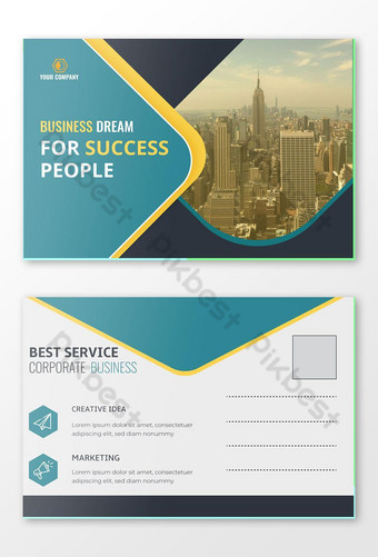 Conception de cartes postales professionnelles d'entreprise Conception de cartes d'événement Modèle PSD