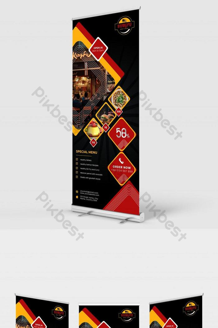 Modern Restaurant Roll Up Banner Signage Stand Banner With Creative Shape Ai Free Download Pikbest