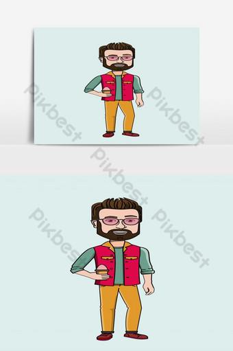 personaje de dibujos animados chico guapo con gafas de sol Elementos graficos Modelo EPS