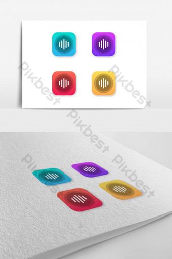 icono de aplicación de logotipo de símbolo de vector de audio moderno Modelo EPS
