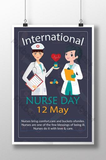 desain poster hari perawat internasional biru tua yang kreatif Templat AI