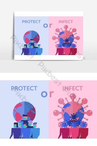 concepto de prevención de covid 19 mediante el uso de máscara quirúrgica ilustración de diseño plano Elementos graficos Modelo EPS