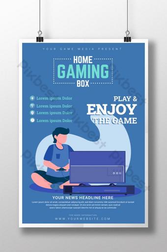 صندوق ألعاب منزلي حديث ومجرّد وملصق عرض لشركة الألعاب قالب AI