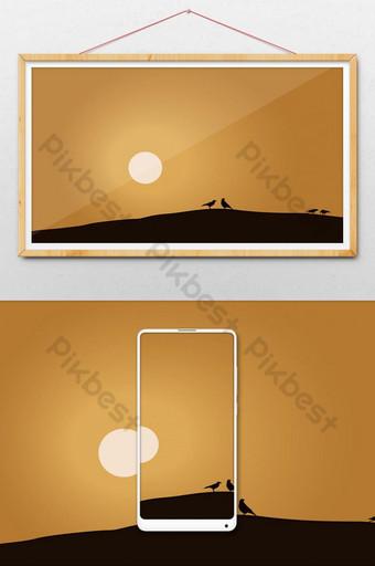 Certains oiseaux sur la conception d & # 39; illustration de paysage désertique Illustration Modèle AI