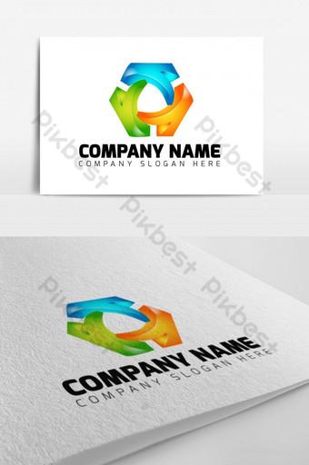 Letra k 3d colorido grupo empresa diseño de logotipo empresarial Modelo EPS