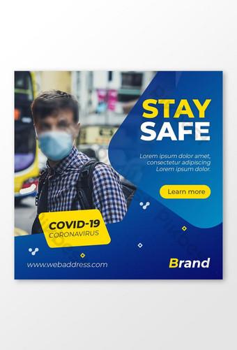 Covid 19 Coronavirus Social Media Projektowanie postów Szablon PSD