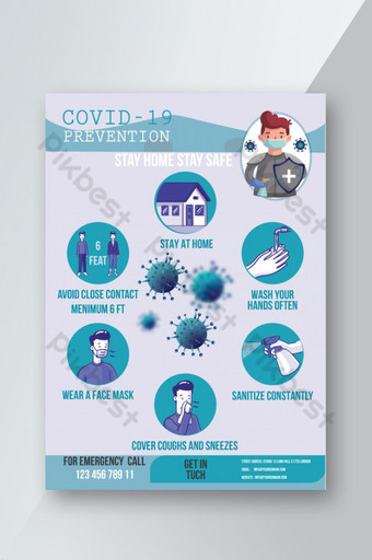 Covid 19 Novel Corona Virus Prevention and symptomy Ulotka Szablon ai Szablon AI
