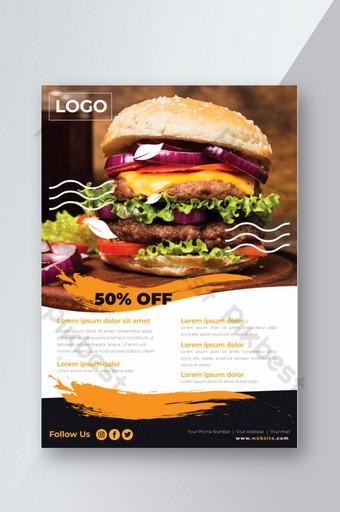 Dépliant de restaurant de nourriture de burger de poulet chaud Modèle AI
