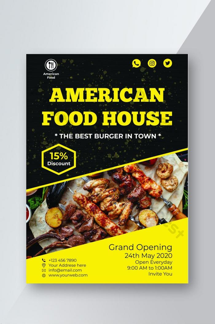 American Food House Bbq Restaurant Flyer Psd Free Download Pikbest
