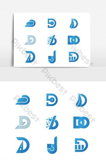 Vector design logo elements big set Corporate identity icons Letter d design PNG Images Template EPS