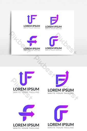 Vector design logo elements set Corporate identity icons Letter f design PNG Images Template EPS