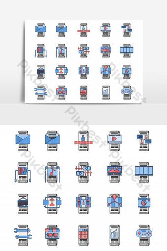20 لونًا لتطبيق الهاتف الذكي وتصميم رمز المخطط التفصيلي باللون الرمادي والأزرق والأحمر صور PNG قالب EPS