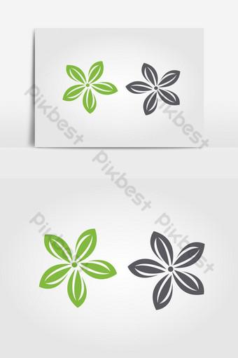 Plantilla de logotipo de diseño de ilustración de vector de icono de flor de jazmín Elementos graficos Modelo EPS