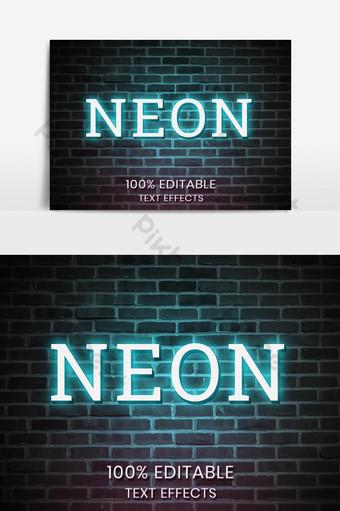Styles d'effets de texte au néon PSD Éléments graphiques Modèle PSD