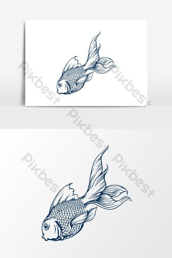 Ilustración de vector de pez dorado Elementos graficos Modelo AI