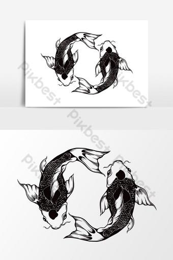 Ilustración de vector de círculo de peces dorados Elementos graficos Modelo PSD