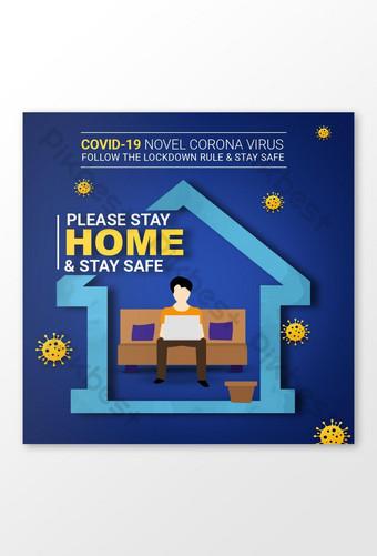 Zostań w domu bądź bezpieczny covid 19 baner społecznościowy psd Szablon PSD