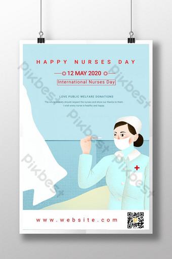 poster kartun hari perawat internasional Templat PSD