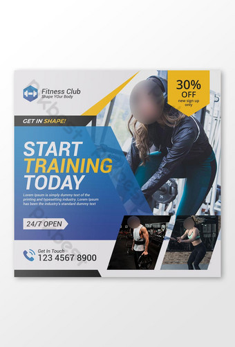 Bannière de médias sociaux de gym de remise en forme ou bannière Web ou modèle de flyer carré Modèle PSD