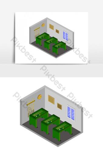 sala de billar isométrica ilustrada en vector sobre fondo blanco Elementos graficos Modelo EPS