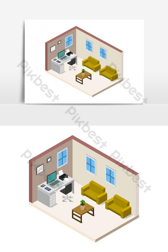 sala de oficina isométrica ilustrada en vector sobre un fondo blanco Elementos graficos Modelo EPS