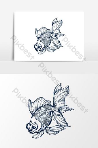 pez dorado, koki, aislado, vector, ilustración Elementos graficos Modelo EPS