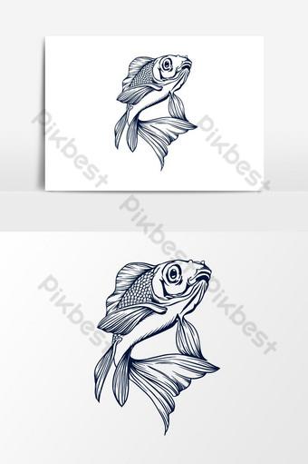 Ilustración de vector de pez koki Elementos graficos Modelo PSD