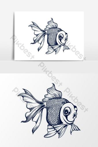 Ilustración de vector de pez dorado Elementos graficos Modelo PSD