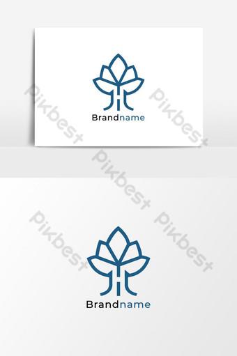 Plantilla de icono de vector de elemento de diseño de logotipo de letra h de árbol Elementos graficos Modelo EPS