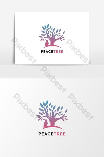 plantilla de diseño de vector de elemento de diseño de logotipo de peacetree Elementos graficos Modelo EPS