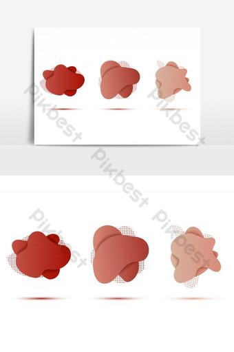 Resumen tres formas libres de color rojo oscuro y brillante con patrón de puntos Elementos graficos Modelo EPS