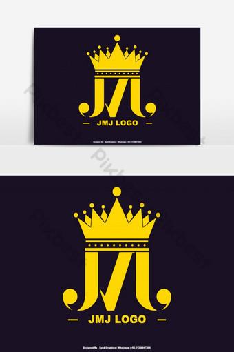 logotipo de jmj de la corona del rey dorado Elementos graficos Modelo PSD