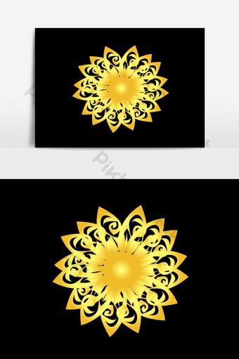 شعار زهرة ذهبية أو صورة ناقلات عنصر التصميم صور PNG قالب AI