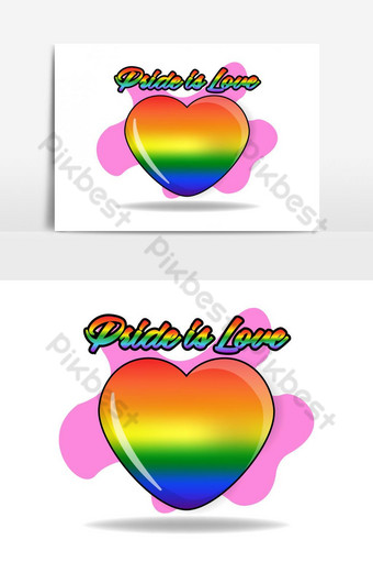 pride day rainbow color cute illustration PNG Images Template EPS