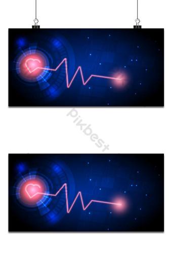Fondo de tecnología abstracta con corazón rojo brillante y onda de pulso Fondos Modelo EPS