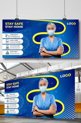 冠狀病毒covid 19預防和宣傳橫幅設計 模板 AI