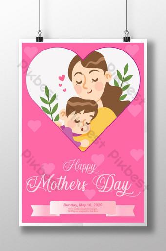 cartaz rosa feliz dia das mães para cartaz de mídia social Modelo AI