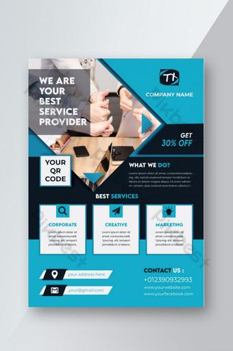 Conception de flyer d'agence d'affaires bleuâtre simple créative Modèle AI