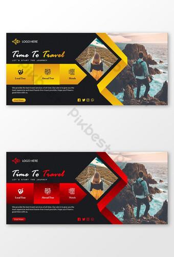 sampul facebook perjalanan yang kreatif dan elegan dan spanduk media sosial Templat PSD