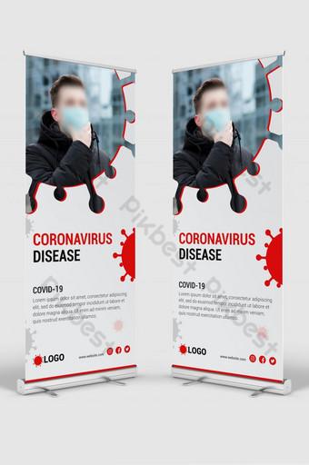 coronavirus covid 19 prevención señalización roll up banner stand diseño de plantilla Modelo AI