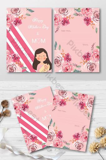 cartão de felicitações exclusivo floral fofo dia das mães Modelo PSD
