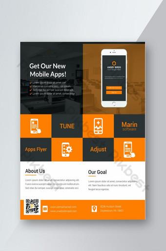 Dépliant de promotion de l'application mobile Modèle PSD