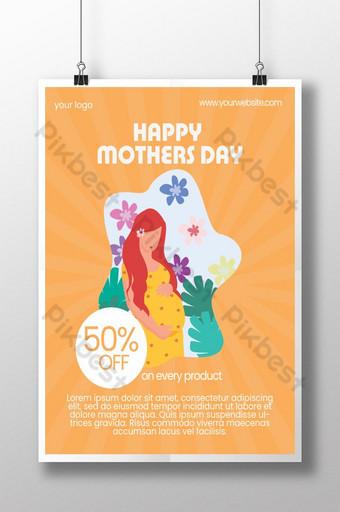 cartaz de oferta do dia das mães Modelo PSD