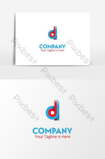 d letra it tecnología pixel logo Elementos graficos Modelo PSD