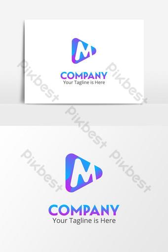 letra m reproducir video redes sociales aplicación multimedia logo Elementos graficos Modelo PSD