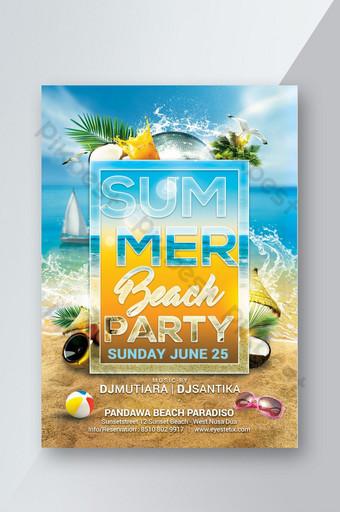 Modèle de Flyer de fête de plage d'été Modèle PSD